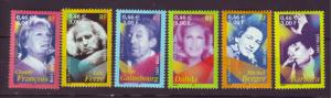 J20370  jlstamps 2001 france mnh set #2819-24 famous people