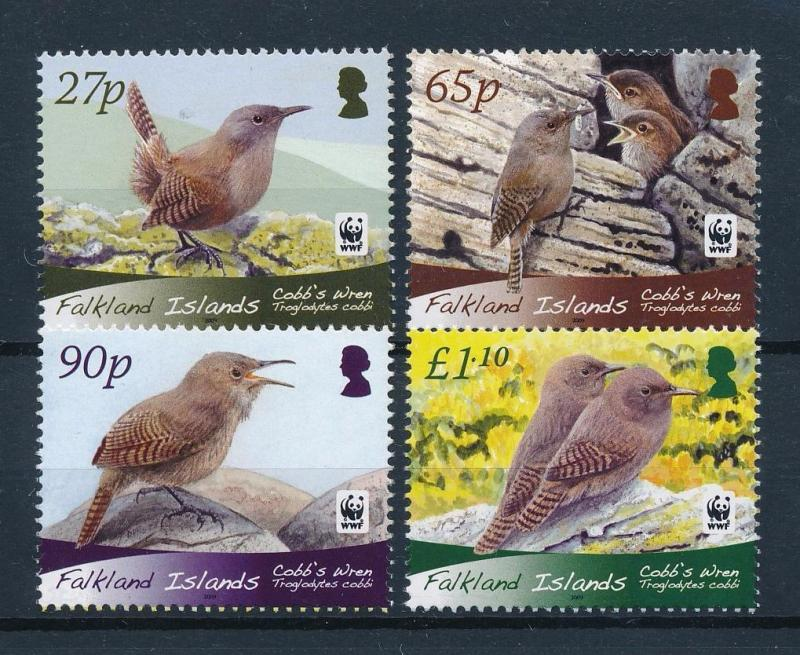 Falkland Islands MNH Set Of Cobb Wren Birds WWF 2007