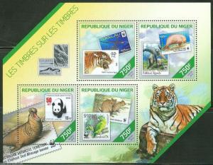 NIGER 2014 WILD ANIMALS ON PREVIOUSLY ISSUED WORLD WILDLIFUND STAMPS  SHEET  NH