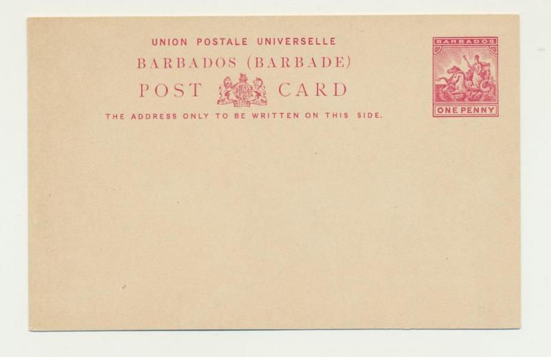 BARBADOS 1892, 1d POST CARD, VF UNUSED (SEE BELOW)