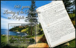 HERRICKSTAMP NEW ISSUES NORFOLK ISLAND Sc.# 1130 Pitcairners Landing S/S