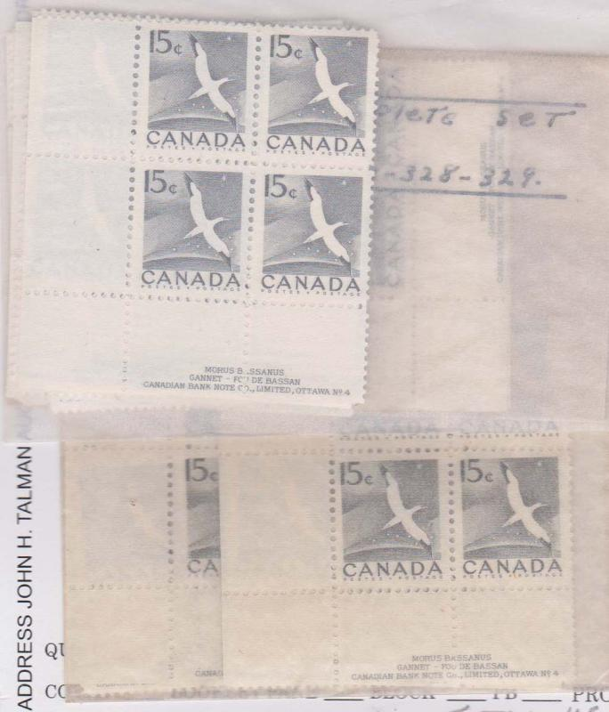 Canada 1954 15c Gannet Plate 4 Matched Set - Six Matched Sets F-VF-NH