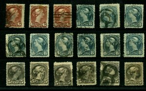 5c, 6c, and 8c SMALL QUEEN  lot various shades used Canada