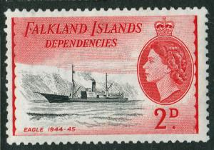 Falkland Island Dependencies QEII 1954 2d Black Rose-Red SGG29 Mint VL Hinged
