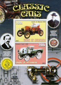 Union of Myanmar 2001 DAIMLERS TRACK CLASSIC CARS s/s Perforated Mint (NH) #3