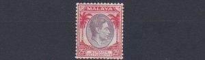 MALAYA  STRAITS SETTLEMENTS  1938 - 41  S G 286  25C  PURP & SCARLET  MH  CAT£48