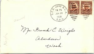 1938 S.F.S. Jose & L.A.  R.P.O. Railway Post Office #113