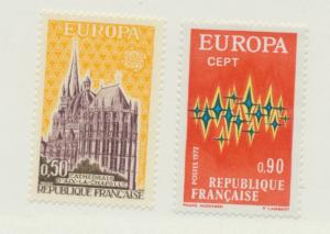 France Scott #1340 To 1341, Europa Issue From 1972, Collectible Postage Stamp...