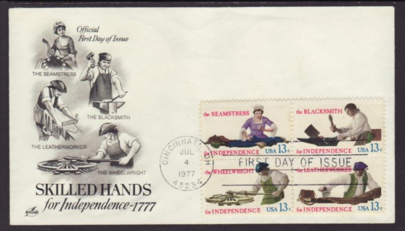 US 1720a Skilled Hands 1977 Artcraft U/A FDC