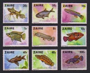 Zaire Fish 9v SG#905-913 SC#862-870 MI#548-556