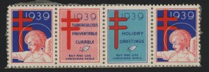 United States 1939 STRIP OF 4 CHRISTMAS SEALS - BARNEYS