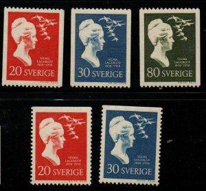 Sweden Sc 532-36 1958 Lagerlof stamp set mint NH