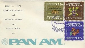 COSTA RICA ORCHIDS,OVERPRINTED 50 ANNIV 1st PAN AM FLIGHT Sc C715-C717 FDC 1978