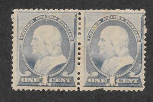 212 Unused, 1c. Franklin Pair,  scv: $425  Free Insured Shipping
