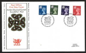 Great Britain Wales New Definitive Values (1974) FDC