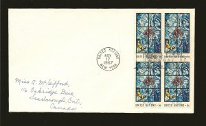 United Nations 180 Kiss of Peace Block of 4 1967 First Day Cover