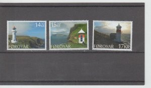 Faroe Islands  Scott#  621-623  MNH  (2014 Lighthouses)