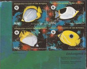 Micronesia - 1997 Fish & WWF - Block of 4 Stamps - 13Q-081 Scott #274