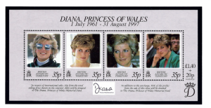 Brit Ant Terr 258 MNH 1998 Princess Diana sheet