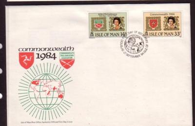 Isle of Man Sc 272-3 1984 Parliamentary Assoc stamp set FDC