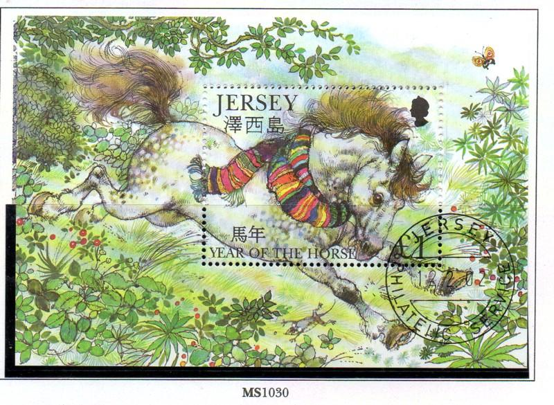 Jersey  Sc 1019 2002 £1 Year of the Horse stamp sheet used