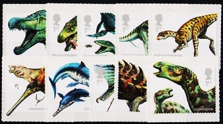 Great Britain. 2013 Dinosaurs.(10 Values).Self Adhesive. Unmounted Mint