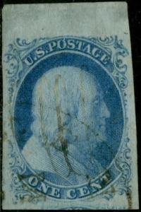 #7 1¢ TYPE II XF LARGE MARGINS AROUND -- RARE TOP ROW COPY -- CV $150.00 BP8975