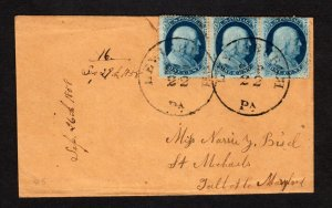 #24 Strip of 3 on Cover CDS Sep 22 1858 Lewisburg, Pa
