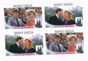 St Lucia 840a-b Pair MNH Blk 4 Royal Wedding 1986 (S0144)