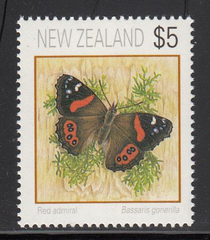 New Zealand 1995 MNH Scott #1079 $5 Red admiral butterfly
