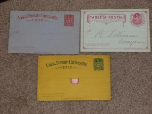 Chile Postal Cards, 3 Different, 1 used & 2 unused