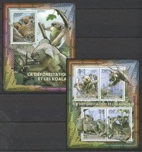 CA833 2012 CENTRAL AFRICA FAUNA WILD ANIMALS DEFORESTATION & KOALAS BL+KB MNH