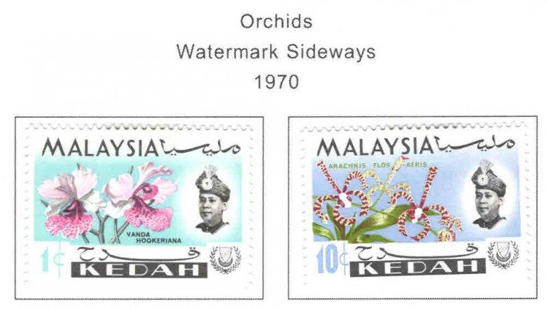 MALAYSIA Kedah Scott 106b, 110a MH* Orchid 1970 sideway watermarks