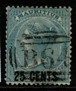 MAURITIUS USED IN SEYCHELLES SGZ42 1878 25c on 6d SLATE-BLUE USED