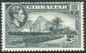 GIBRALTAR-1940 2d Grey Perf 13½ WMK SIDEWAYS.  A lightly mounted mint example Sg