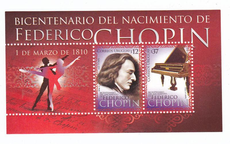 Classic Music Bicentenary Frederic Chopin piano Ballet URUGUAY MNH STAMP