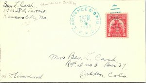 1929 Lawrance & Grid(Blue Cancel) R.P.O. Railway Post Office #189