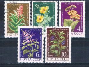 Russia 3953-57 Used set Medicinal Plants 1972 (R0773)