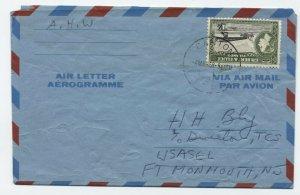 1958 Gilbert & Ellice Islands #68 Canton Island to USA aerogramme [y5655]