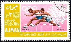 Hurdle, 1968 Summer Olympic, Mexico City, Ajman Stamp used