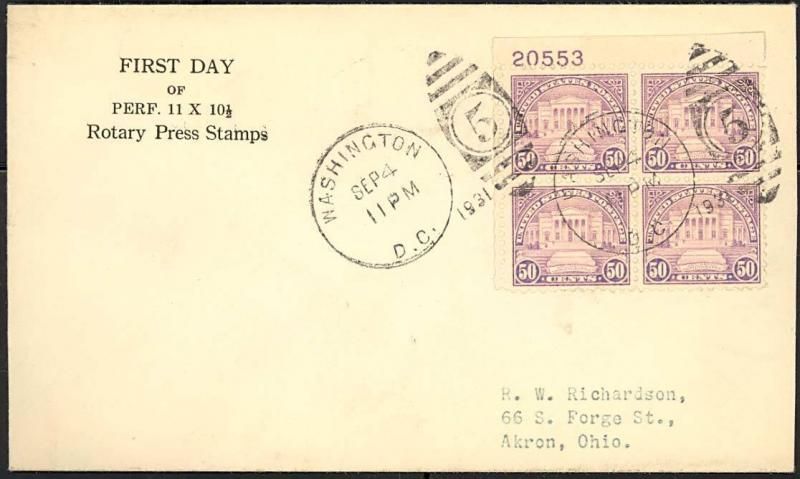 #701 PLATE BLOCK OF 4 ON RARE FIRST DAY COVER BY GORHAM WLM458