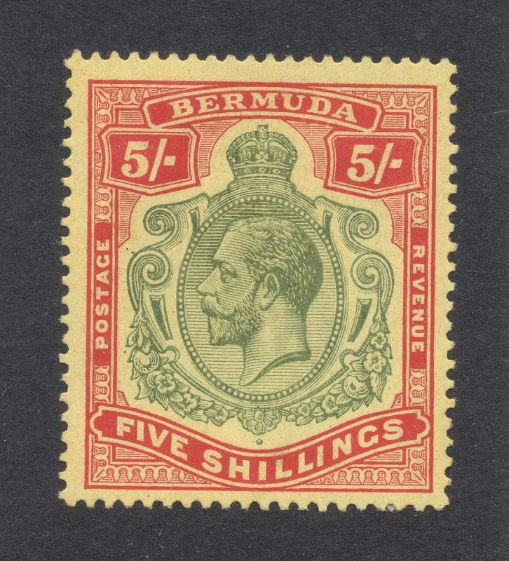 Bermuda #52 - 5 Shillings - Red & Green on Yellow - O.G.