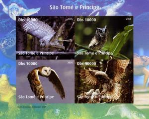 Sao Tome & Principe 2005 WWF.w/Logo BIRDS Owls Sheet Imperforated Mint (NH)