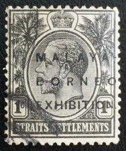 MALAYA 1922 MBE opt Straits Settlements KGV 1c MSCA USED SG#250 M2413