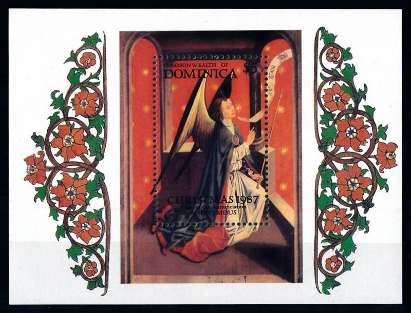 [76458] Dominica 1987 Painting Christmas Angel Souvenir Sheet MNH