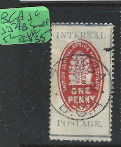 BRITISH CENTRAL AFRICA   (P1208B)  1D CHEQUE STAMP  SG 55AB SMALL THIN SON