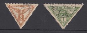 Fiume Sc P2, P4 used 1919 Eagle triangulars, F-VF