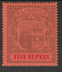 MAURITIUS 1900 ARMS 5R WMK CROWN CA SIDEWAYS TOP VALUE
