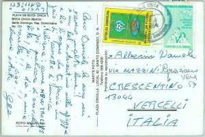 86904 - DOMINICANA - single stamp on POSTCARD to ITALY - 1984  Football SPORT