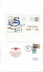 US Navy USS Salt Lake City SSN 716, 2 Covers, Commission/Launch
